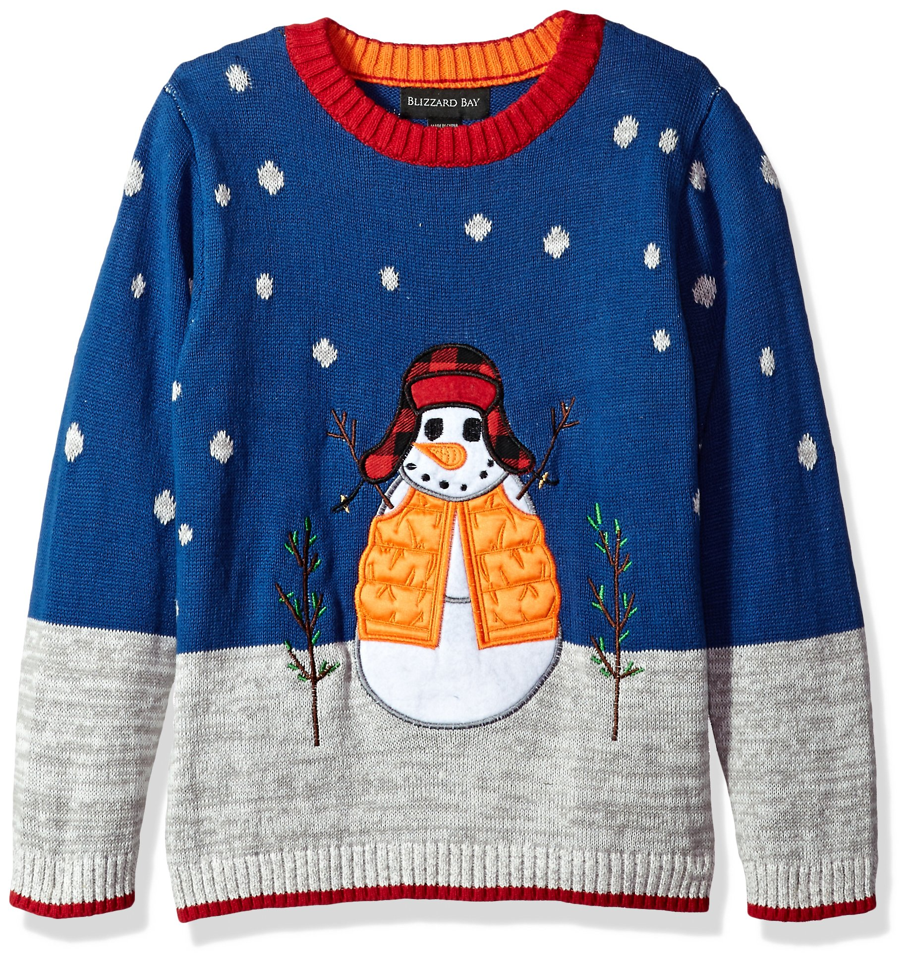 Blizzard Bay Big Boys' Snowman with Hat Xmas Sweater, Blue Combo, 12/14 M