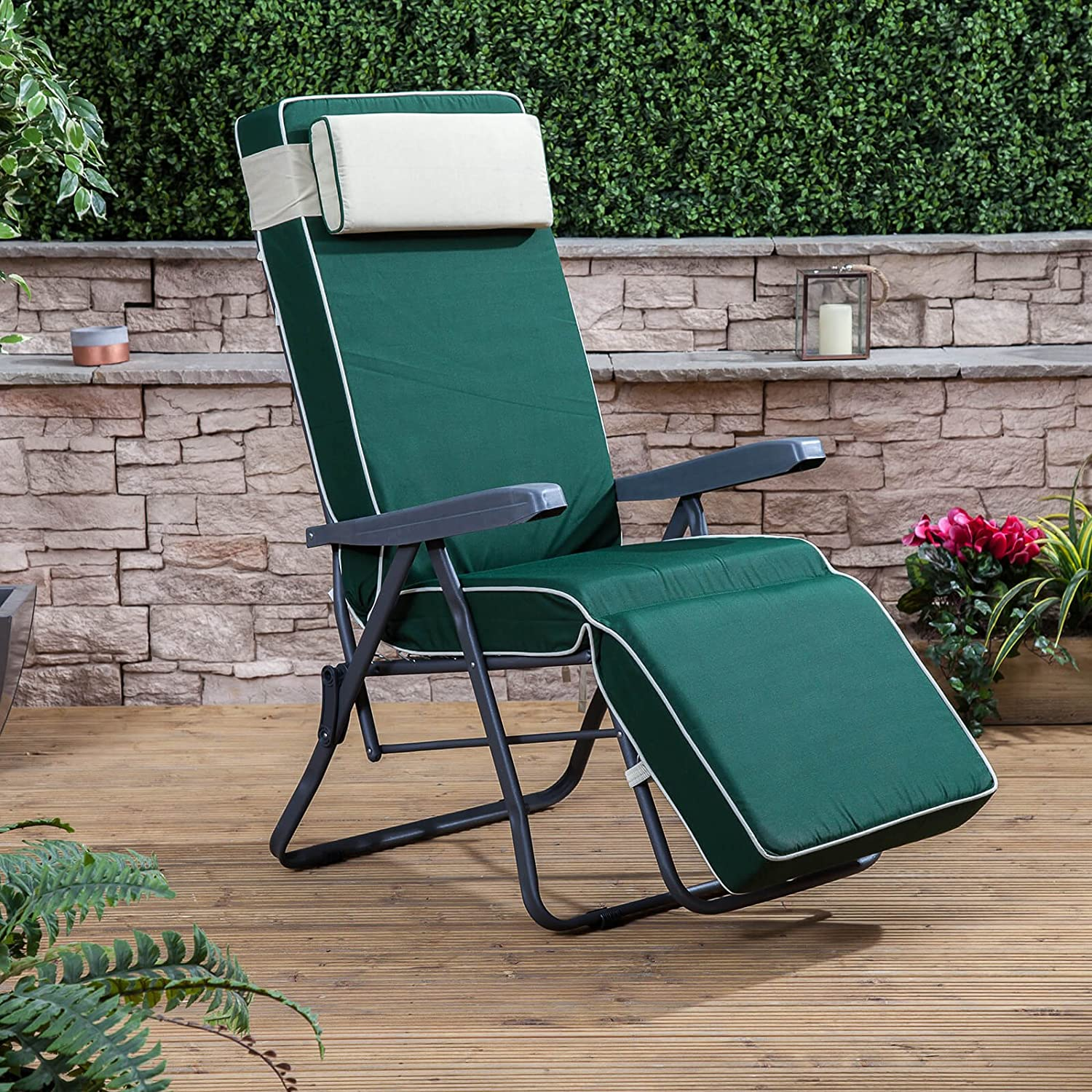 d3a473d8c81e Alfresia Garden Reclining Relaxer Chair - Charcoal Adjustable Multi  Position Foldable Frame with Luxury Cushion Choice of Colours (Green):  Amazon.co.uk: ...