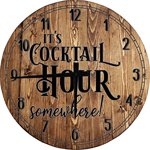 OSG Bar Wall Clock It's Cocktail Hour Somewhere bar Drinking Alcohol 5 o'clock Bar Sign Large Brown 18