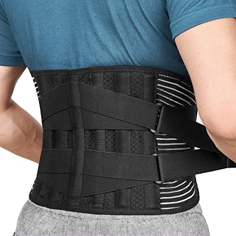 FREETOO Back Support Brace with 6 Support Stays, Breathable 16 Hole Mesh Lumbar Support Belt, Double Compression Adjustment Lower Back Pain Relief