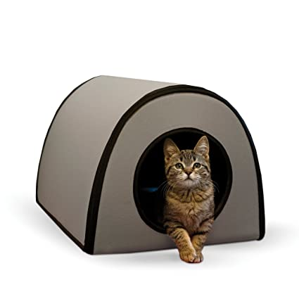 """1960e90451d K&H Pet Products Mod Thermo-Kitty Heated Shelter Gray 21"""" x 14"""" x"""