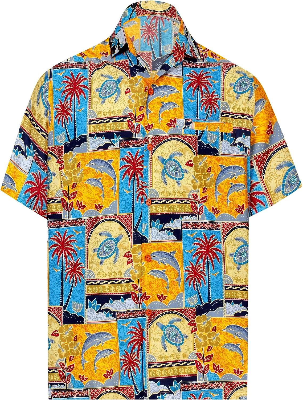 TALLA M - Pecho Contorno (in cms) : 101 - 111. LA LEELA Shirt Camisa Hawaiana Hombre XS - 5XL Manga Corta Delante de Bolsillo Impresión Hawaiana Casual Regular Fit Camisa de Hawaii Azul Real