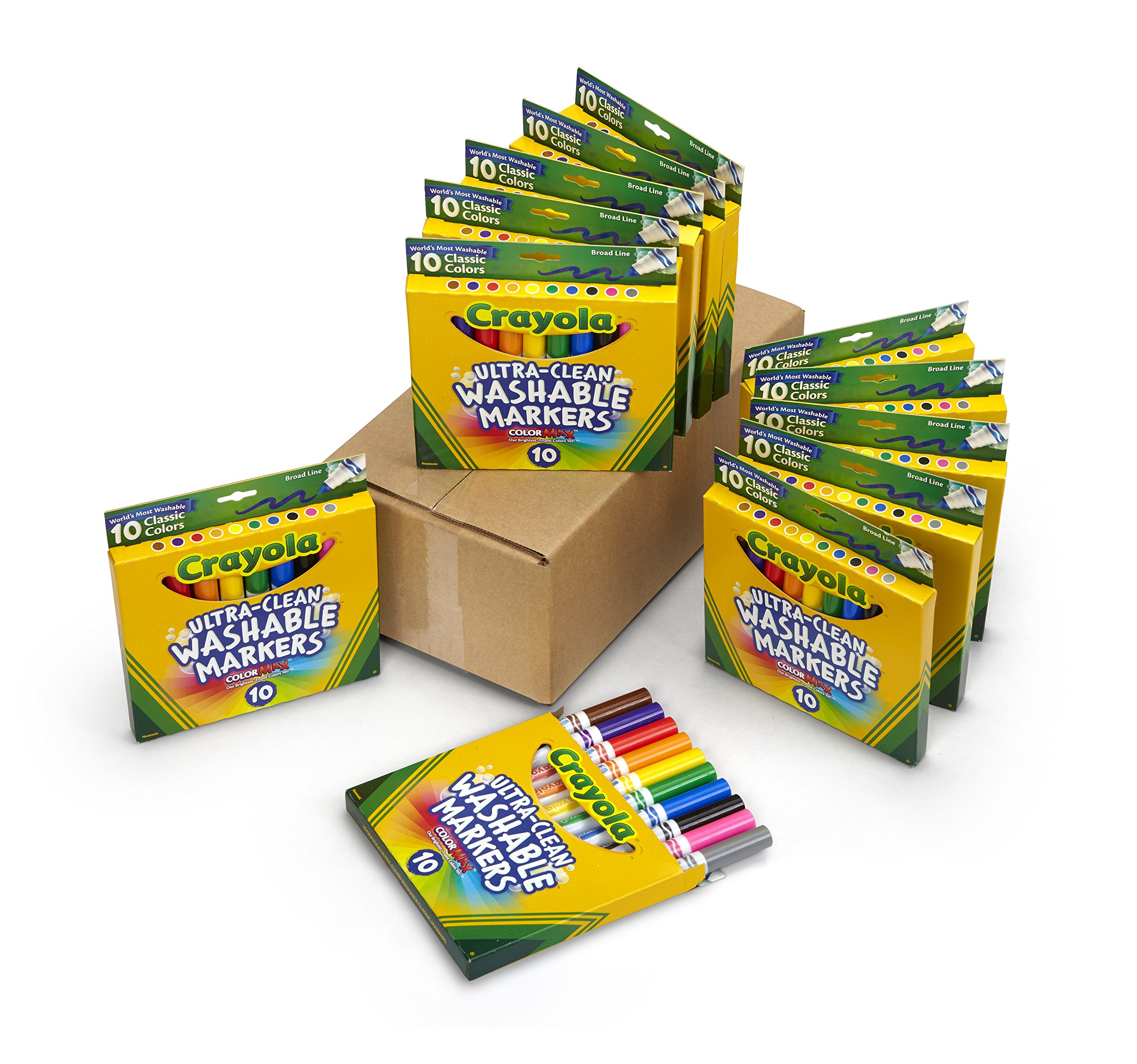Crayola Ultra Clean Broad Line Markers, School Supplies, 12 Pack, 10 Assorted Colors by Crayola