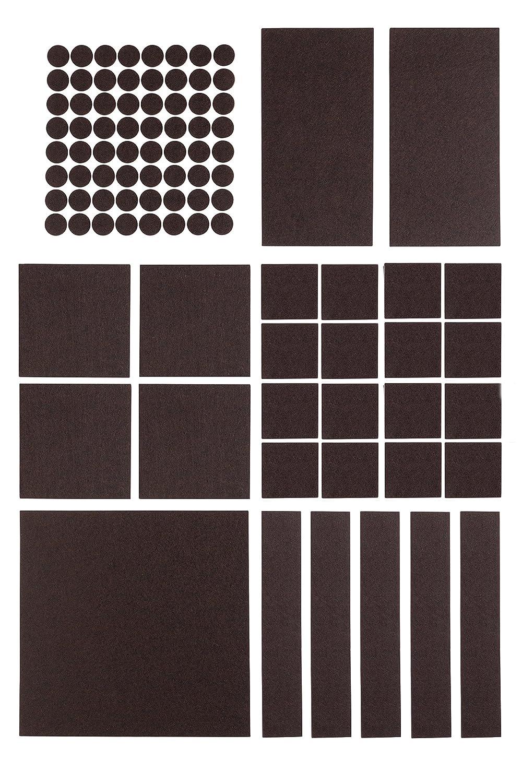 Premium Filzgleiter Set selbstklebend - 5x 200 x 200 mm + 64x Ø 20 mm (rund) - Möbelgleiter, Stuhlgleiter, Bodengleiter, Filz-untersetzer, Kratzschutz, Filz - selbst zuschneidbar - (braun) Filzada