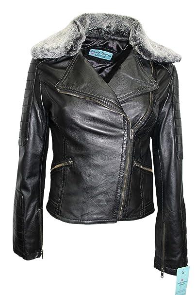 Traje de neopreno para mujer de pelo cuello desmontable negro Real Rock funda para Napa con una chaqueta de cuero: Amazon.es: Ropa y accesorios