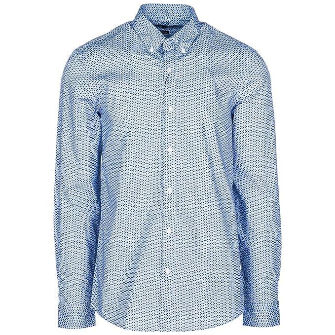 Michael Kors Camisa de Mangas largas Hombre Azul: Amazon.es: Ropa y accesorios