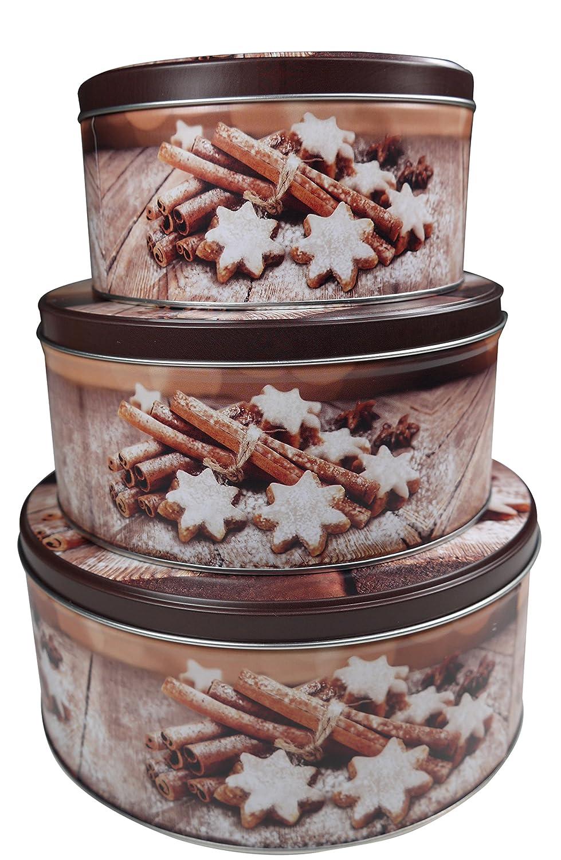 khevga Lot de boîtes à biscuits Noël, marron, flach
