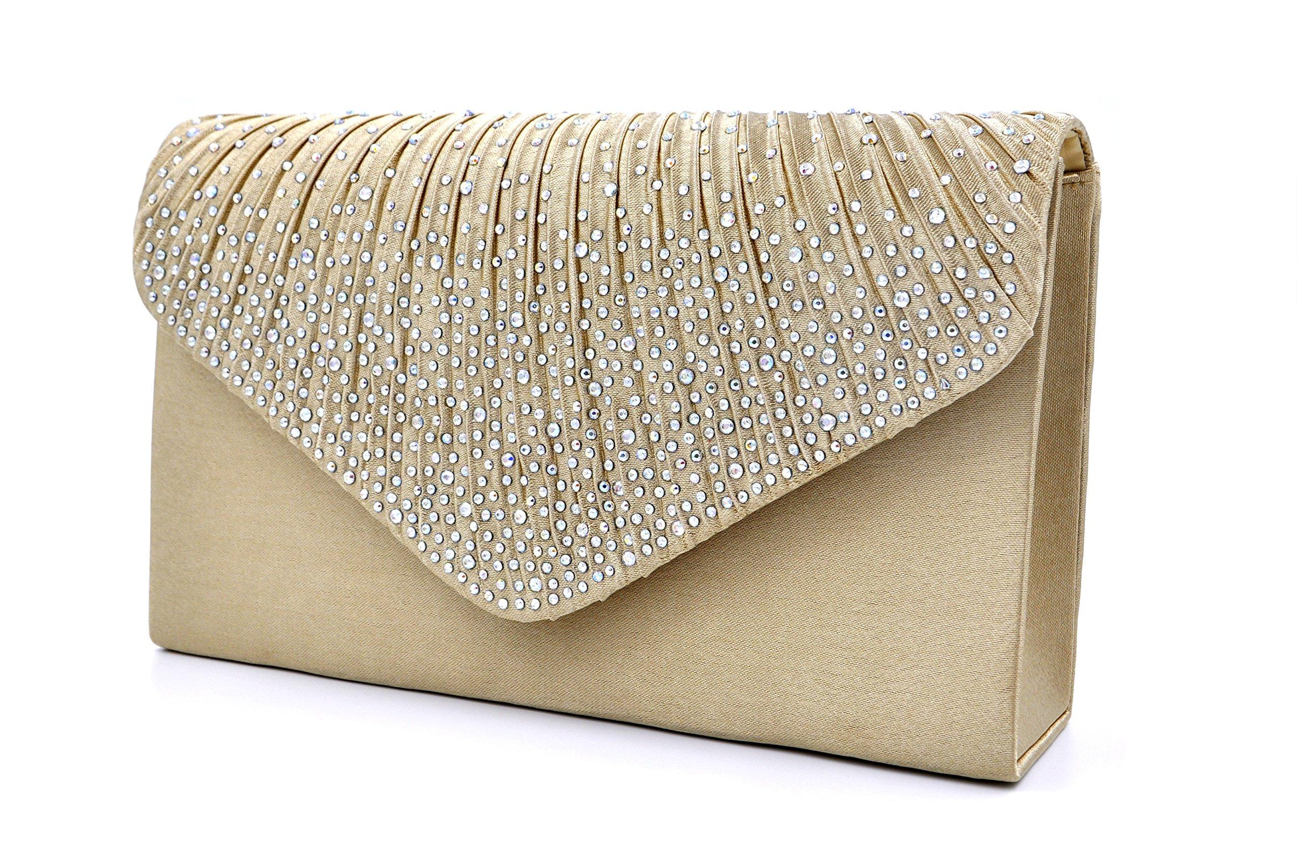Nodykka Women Evening Envelope Rhinestone Frosted Handbag Party Bridal Clutch Purse,One Size,Champagne