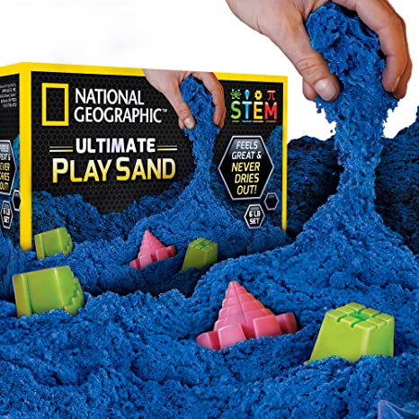 d9f84f2369 Amazon.com: NATIONAL GEOGRAPHIC Play Sand - 6 LBS of Sand with Castle Molds  (Blue) - A Kinetic Sensory Activity: Toys & Games