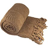 """BNF Home Knitted Tweed Throw Couch Cover Blanket, 50 by 60"""", Amphora"""