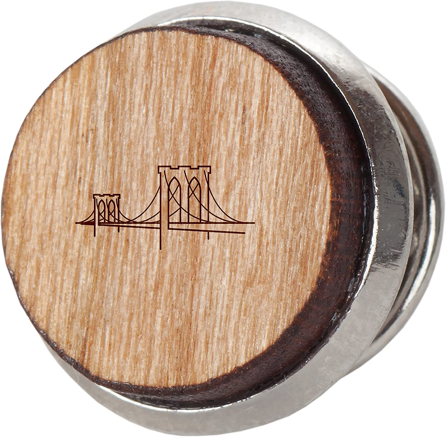 Brooklyn Bridge Stylish Cherry Wood Tie Tack- 12Mm Simple Tie Clip with Laser Engraved Design - Engraved Tie Tack Gift