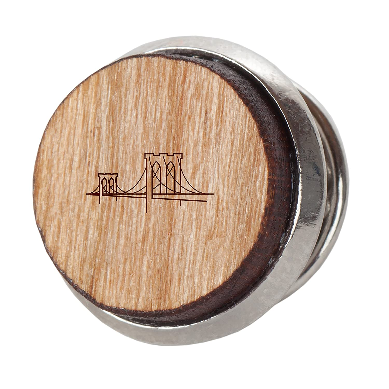 Engraved Tie Tack Gift 12Mm Simple Tie Clip with Laser Engraved Design Brooklyn Bridge Stylish Cherry Wood Tie Tack