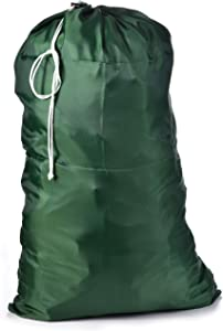 Nylon Laundry Bag - Locking Drawstring Closure and Machine Washable. These Large Bags Will Fit a Laundry Basket or Hamper and Strong Enough to Carry up to Three Loads of Clothes. (Hunter Green)