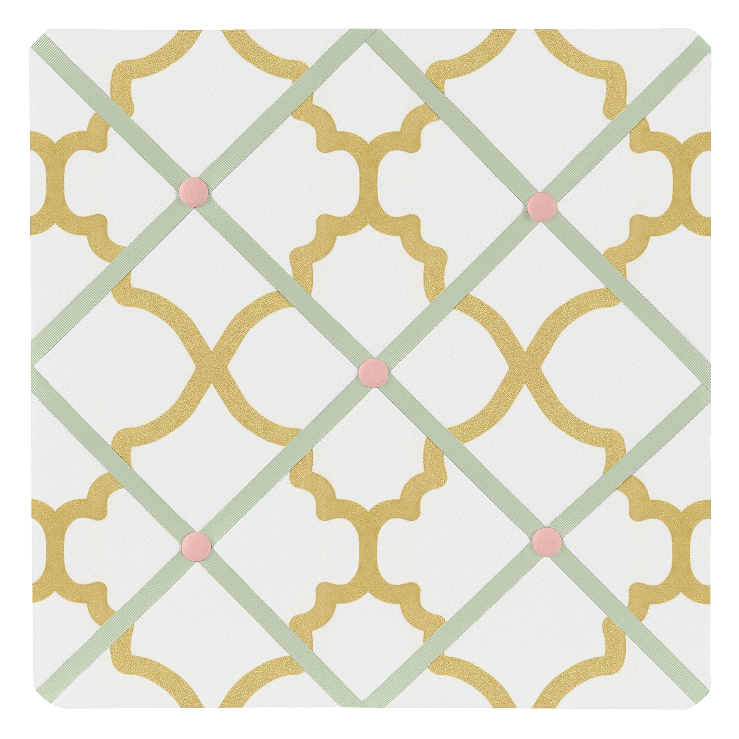 Sweet Jojo Designs Ava Mint Coral White and Gold Trellis Fabric Memory/Memo Photo Bulletin Board