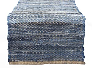 """Chardin home Eco Friendly Recycled Denim/Jute Table Runner, size: 14""""x72"""""""