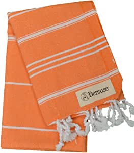 Bersuse 100% Cotton - Anatolia Hand Turkish Towel - Head Hair Face Baby Care Kitchen - 22X35 Inches, Orange