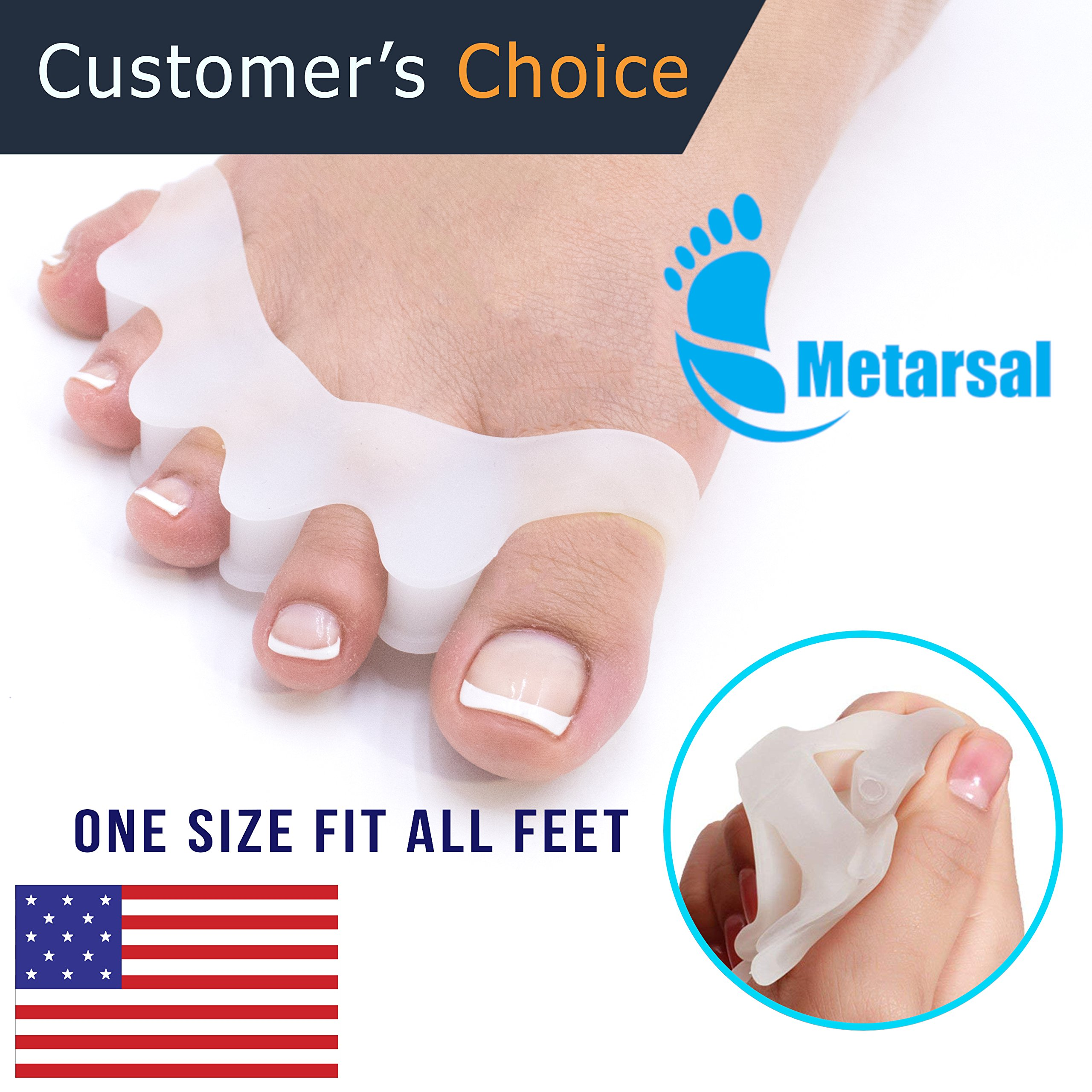 Gel Toe Separator Rubber, Toe Stretchers, Toe Spacers, Walking and Dancing, Bunion Relief, Toe Strechers for Yoga, Toe Pad Kit for Men and Women, Toe Support (2 Pcs) by Metarsal