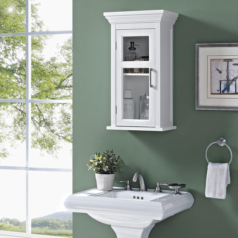 Amazon.com: Simpli Home Avington Single Door Wall Cabinet, White ...