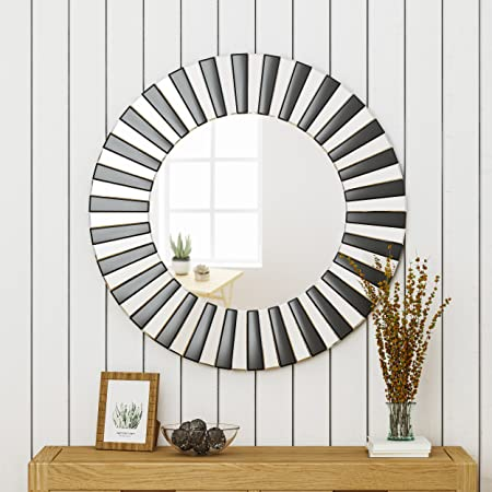 Great Deal Furniture 305151 Abell Glam Circular Wall Mirror, Black