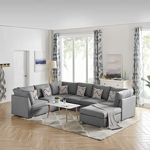 Lilola Home Amira Gray Fabric Reversible Modular Sectional Sofa