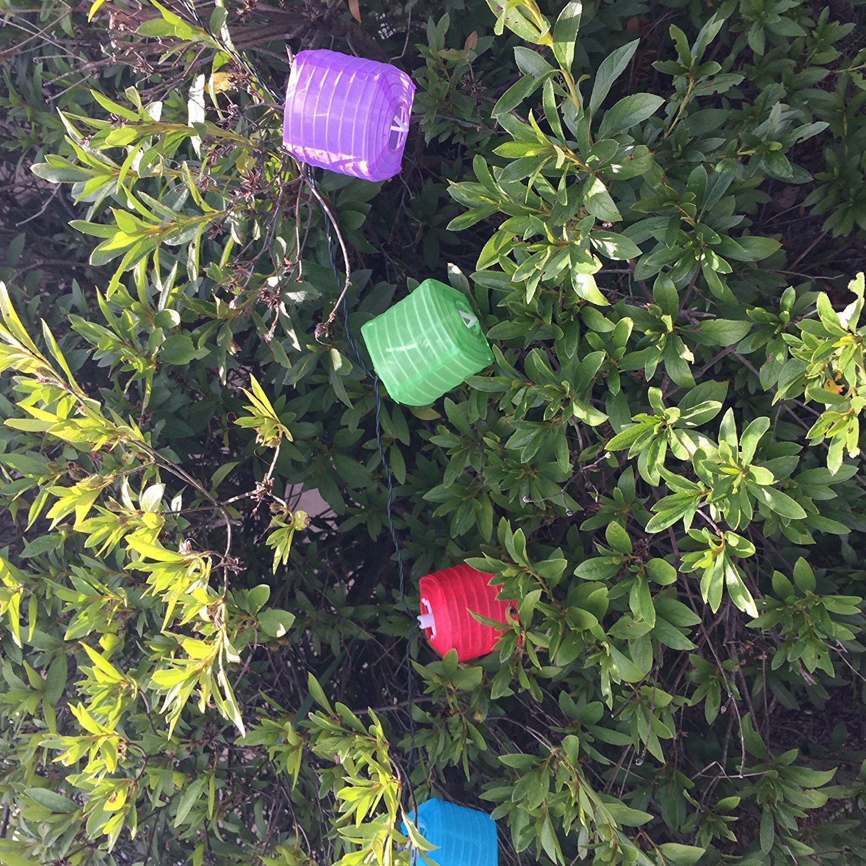 e-joy 20 Piece Solar LED Chinese Outdoor Decorative String Lights for Patio, Garden, Lawn, Elliptical Lanterns