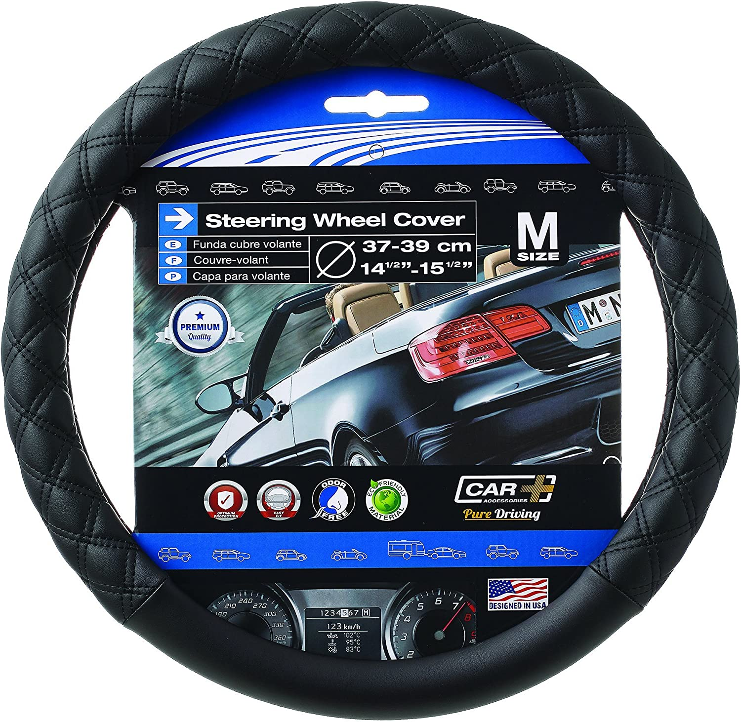 SUMEX Black Stitching Steering Wheel Cover Quilted Diamond Odorless