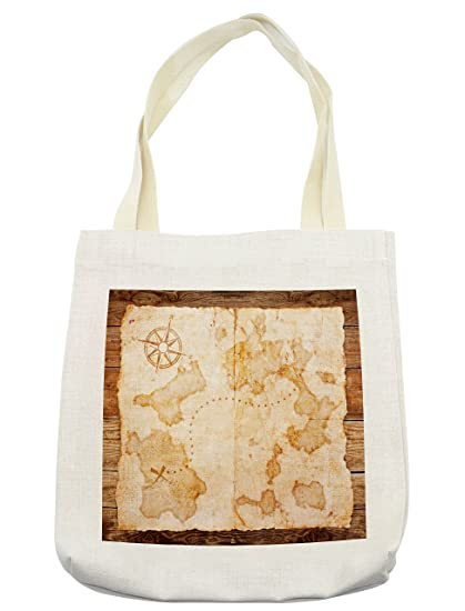 a8ede7b1c56d Amazon.com - Lunarable Island Map Tote Bag, Ancient World Chart with ...