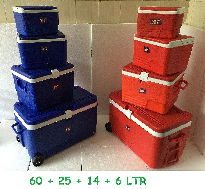 4pc - Nevera portátil enfriador de rojo caja con ruedas Picnic ...