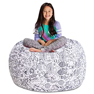 """Posh Stuffable Kids Stuffed Animal Storage Bean Bag Chair Cover - Childrens Toy Organizer, X-Large 48"""" - Canvas Fun Creatures Coloring Fabric"""