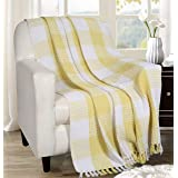 Buffalo Plaid Cotton Throw Blanket With Fringes 50x60 Inch- Lime Yellow,Cotton Throw For Sofa, Farmhouse Throw,Throw For Couc