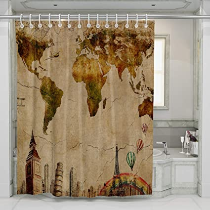 Decoration Bathroom Shower Curtain Set Art Vintage Yellow Map Printing Polyester Fabric Curtains