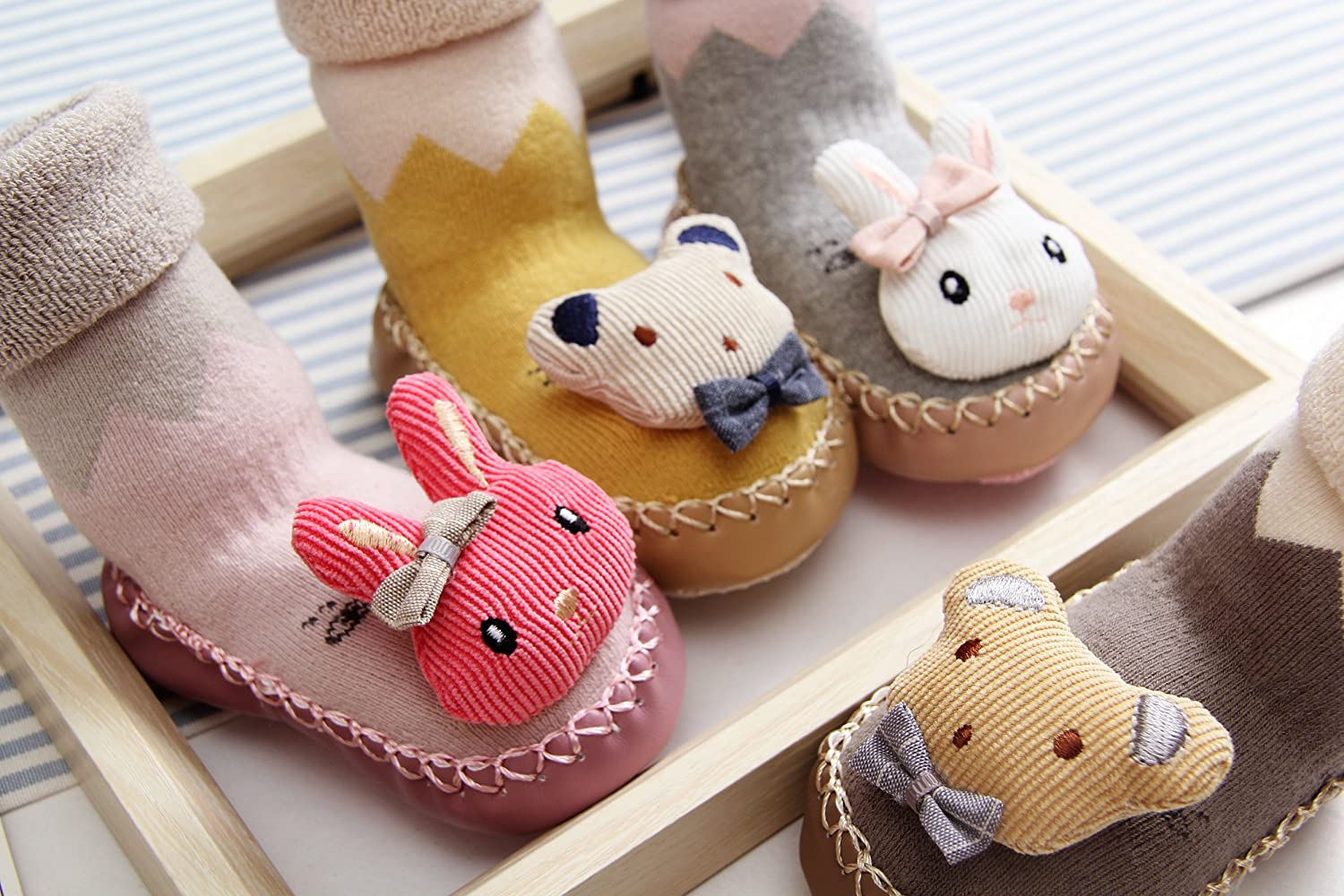 Cute Animal Cartoon Toddler Unisex-Baby Footwear Thickened Socks with Small Bell