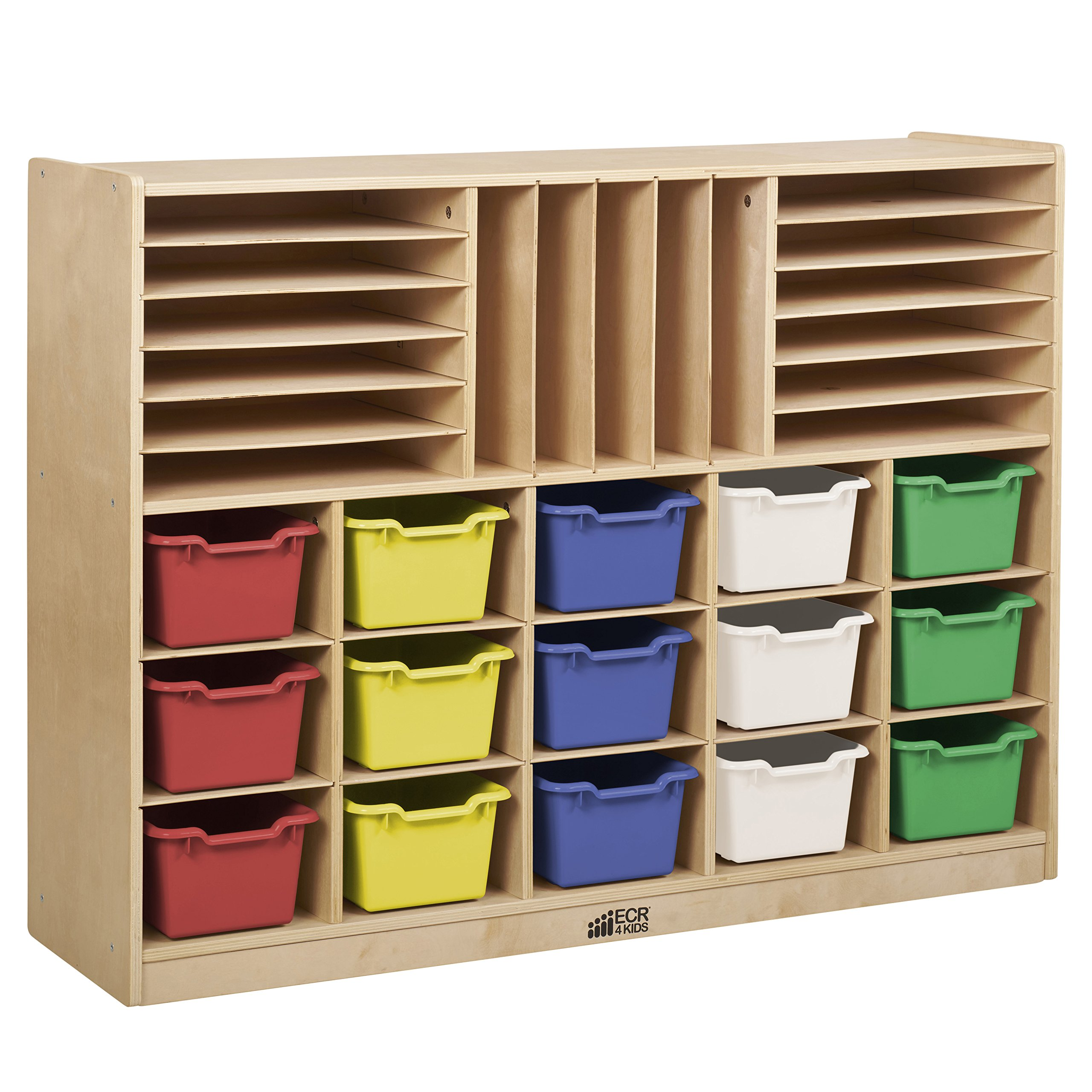 ECR4Kids Birch Multi-Section Storage Cabinet with 15 Scoop Front Bins, Assorted Colors