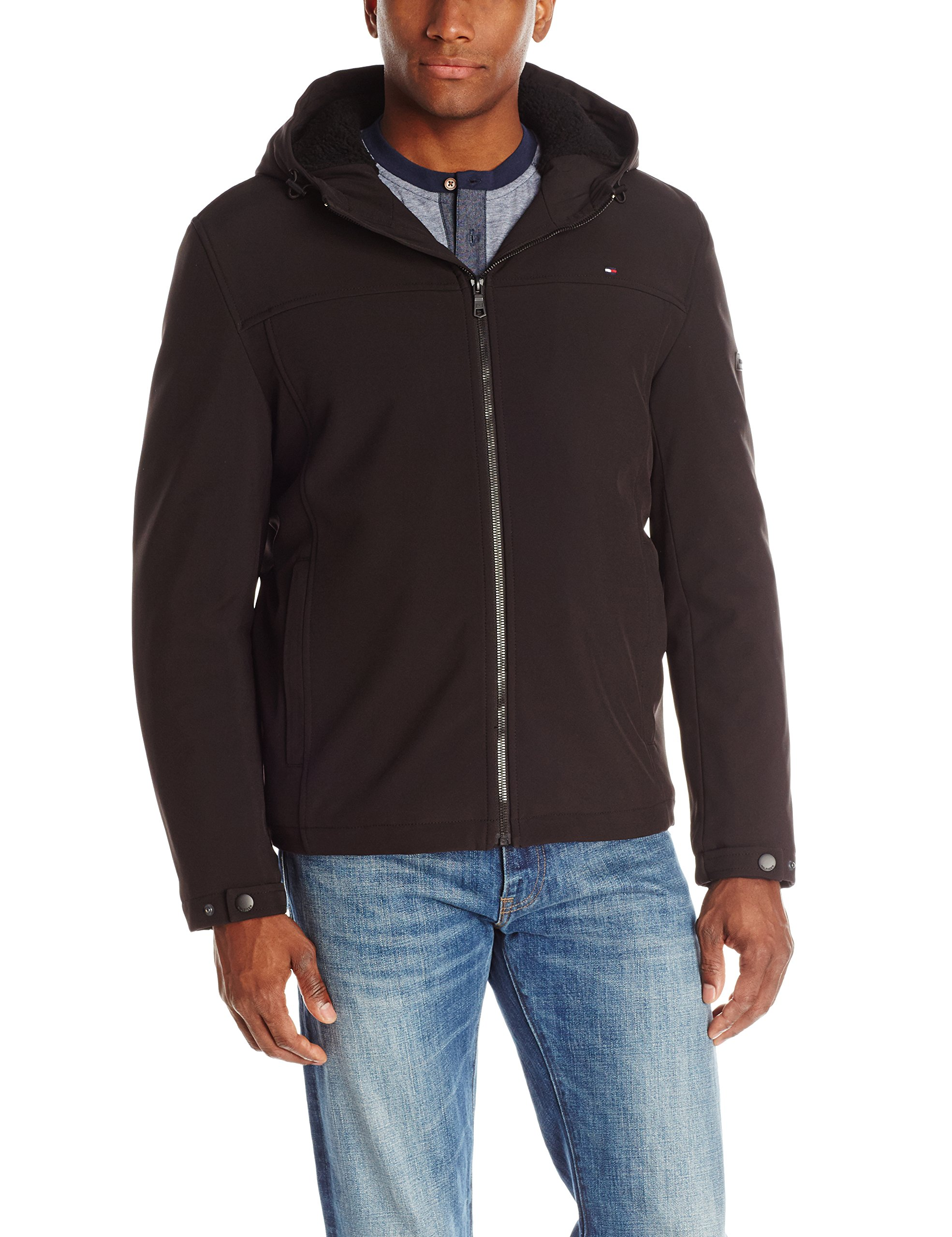 Tommy Hilfiger Men's Soft Shell Sherpa Lined Hoody, Black, Large