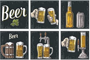 Gc Bar Wall Decor | Set Of 6 Posters | Unframed 11x11 Wall Art Pictures | Bar Decorations, for Man Caves | Billiard Room Decor | Beverage And Drinks Lover Gifts
