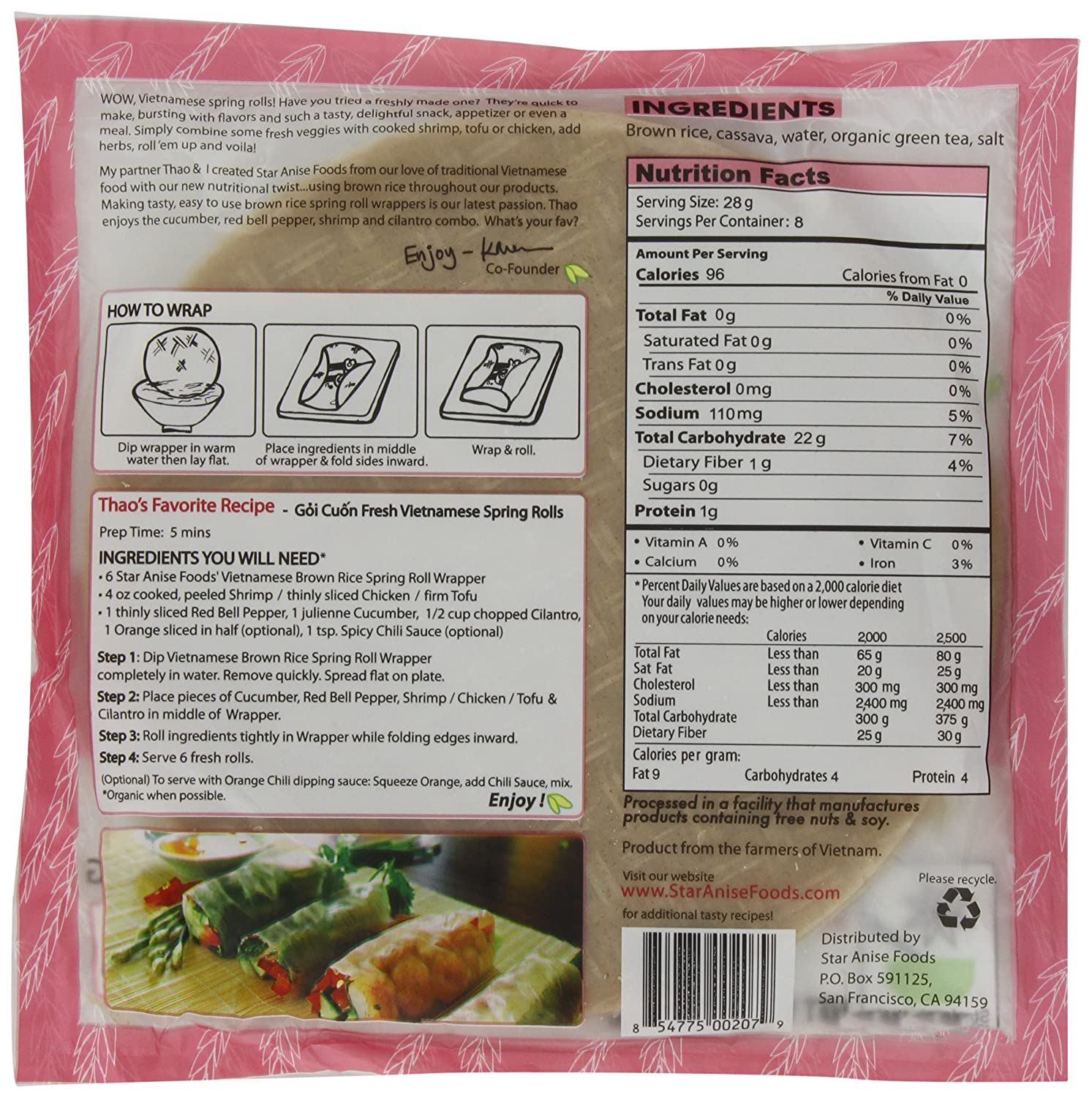 calories in rice paper Rice paper may not provide much nutritional value, but it is gluten free and very user-friendly it also offers a low calorie approach to making your clean eats look more like cheats.