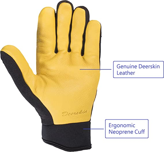Details about  /Skydeer High-Performance Stretch Spandex Mechanic Work Gloves With Genuine Deers