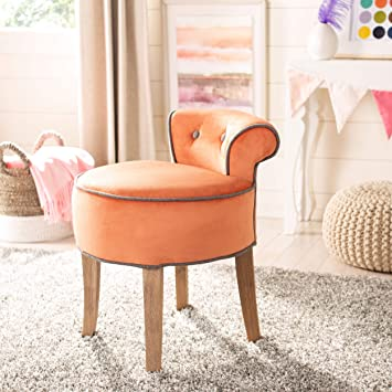 Astounding Safavieh Mercer Collection Georgia Vanity Stool Burnt Orange Machost Co Dining Chair Design Ideas Machostcouk