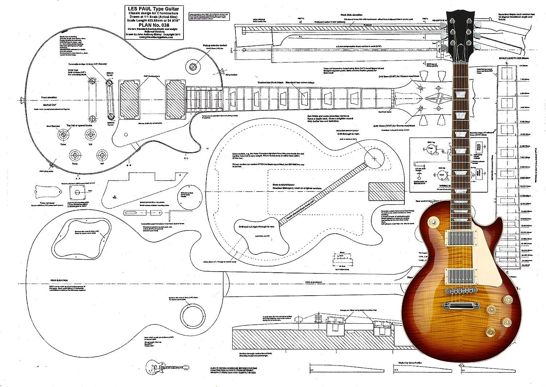 Guitarra eléctrica Luthiers Plans To Build Les Paul: Amazon.es ...