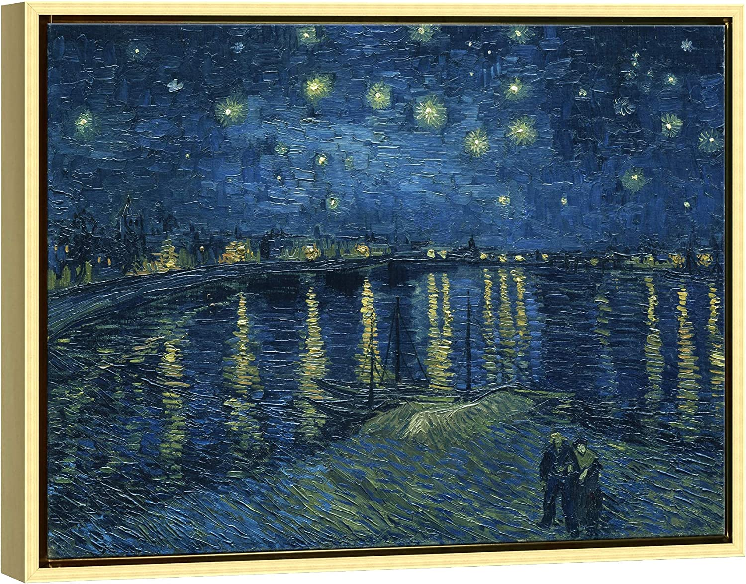 Wieco Art Framed Art Giclee Canvas Prints of Starry Night Over The Rhone Canvas Prints Wall Art by Van Gogh Paintings Reproduction Abstract Artwork for Wall Decor Golden Frame VAN-0026-3040GF