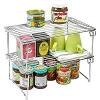 2 Pack - DecoBros Stackable Kitchen Cabinet Organizer Chrome