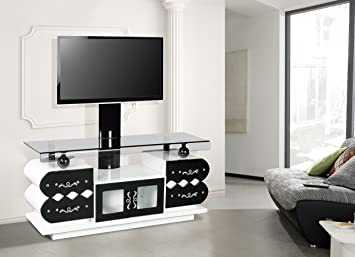 Liliana TV Stand With 360 Degree Rotatable Bracket With Tinted Glass Metal  Handle And Legs