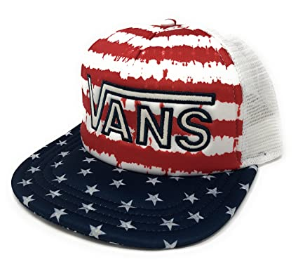 5bb5c1b205 Image Unavailable. Image not available for. Color  Vans Drop V Americana  Flag Stars Stripes Trucker Hat