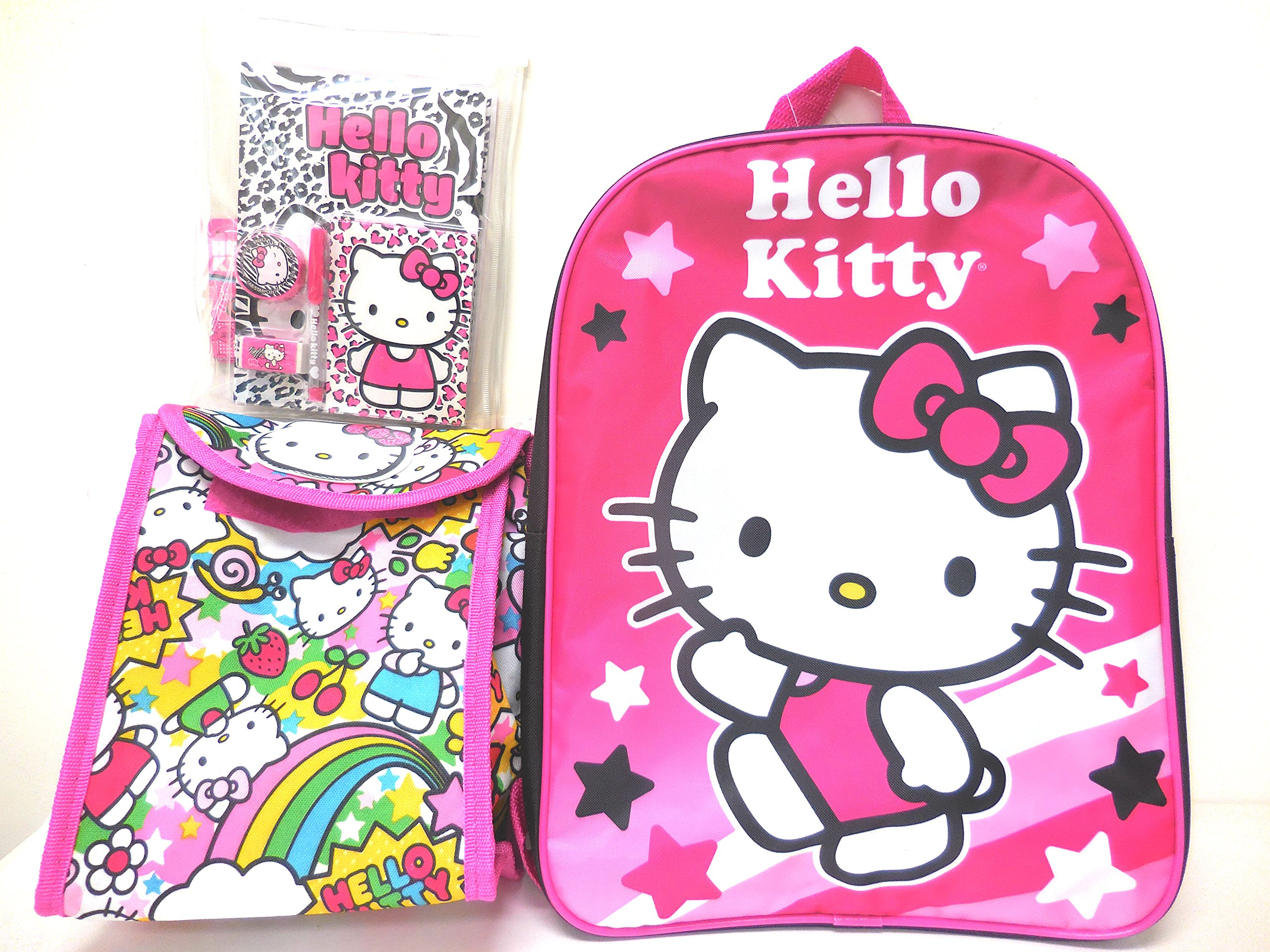 Hello Kitty Large Backpack with Foldable Lunch Bag and Journal Set