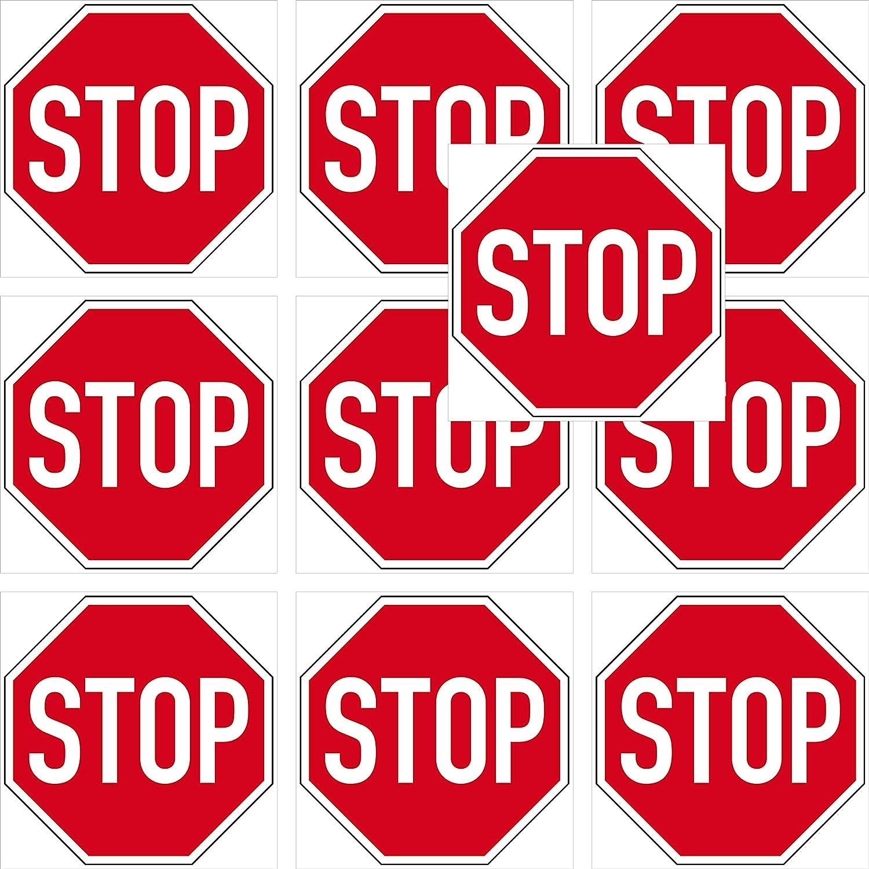 Greenit 10 Aufkleber 10cm Stop Schild Sticker Halt Achtung Zeichen Symbol 4061963009529 Auto