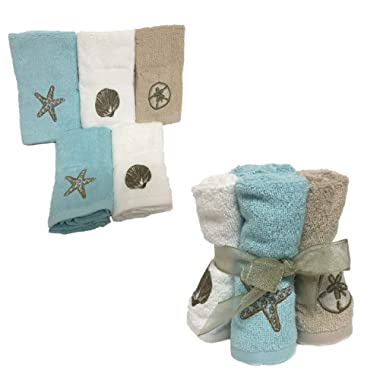 Summer Style Decorative Fingertip Hand Towels washcloths Set of 5 with Coastal Gold Shells Embroidery