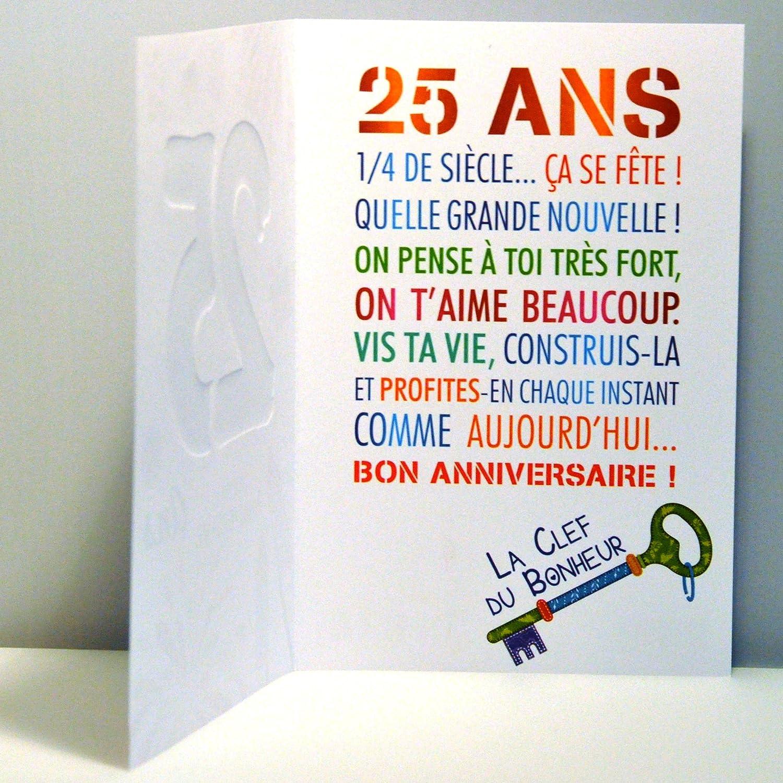 Audacieux Age Mv 69-2027 Carte Anniversaire 25 ans Jeune Homme Femme motif SU-96