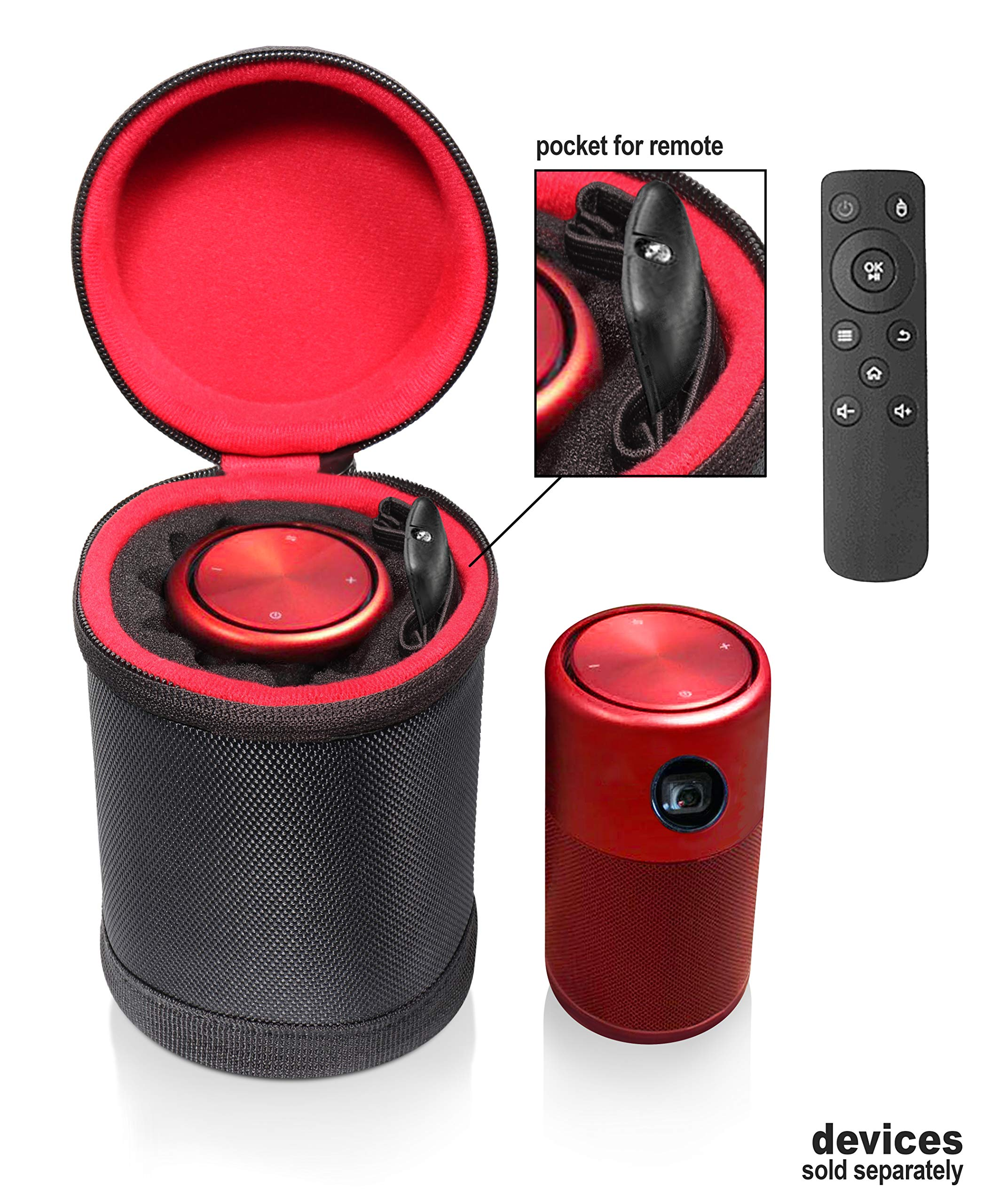 Customized Stand Case for Nebula Capsule, Designed to Keep The Nebula Smart Portable Wi-Fi Mini Projector in Original Stand Status, Excellent Soft Padding, Room for The Remote Controller by CaseSack