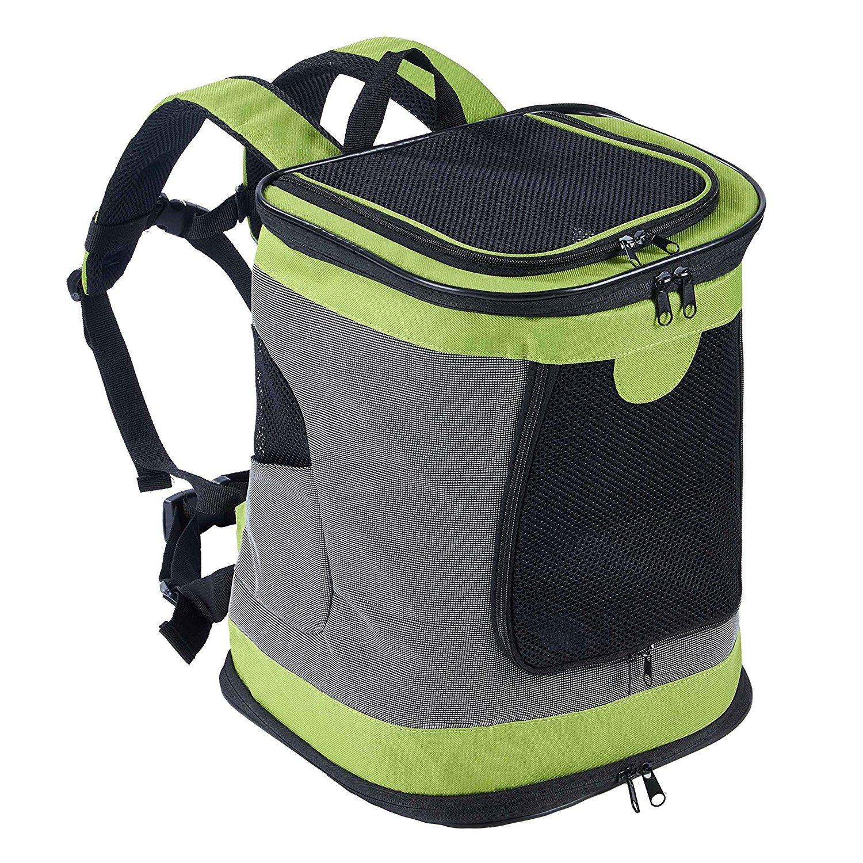Decoroom Dog Backpack Pet Carrier Mesh Soft Sided Pet Shoulder Bag Outdoor Travel Cycling Hiking Walking, Green