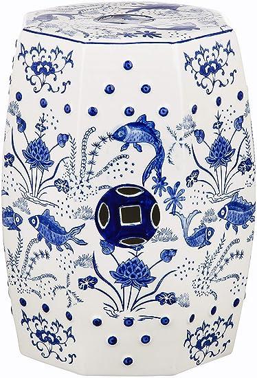 Safavieh Home Collection Katrice Blue Ombre Ceramic Decorative Garden Stool ACS5201A